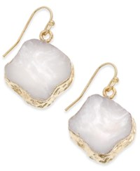 Macy's Gold Tone Natural Shape Stone Drop Earrings White