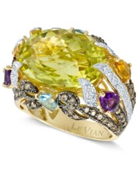 Le Vian Lemon Quartz 11 1 2 Ct. Blue Topaz 9 10 Ct. Chocolate Diamond 7 10 Ct. Citrine 1 2 Ct. T.W. And Tsavorite 2 5 Ct. T.W. Ring In 14K Gold Yellow