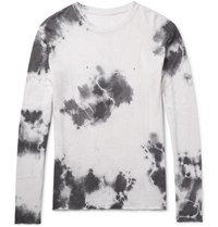 The Elder Statesman Tie Dyed Cashmere And Silk Blend T Shirt Off White