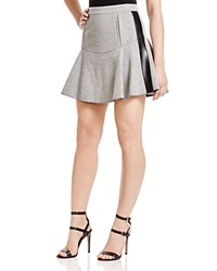 1 By O'2nd Paul Faux Leather Trim Flare Skirt Melange Grey