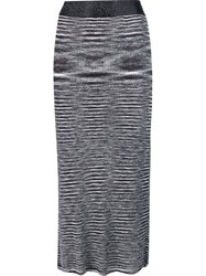 Ellery Striped Midi Skirt Grey