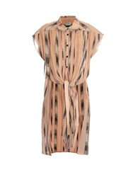 Rachel Comey Canna Tie Front Capped Sleeved Cotton Shirt Nude
