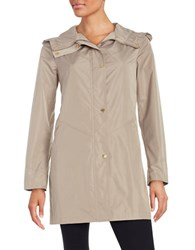 Ellen Tracy Plus Snap Front Hooded Jacket Khaki