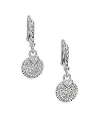 Judith Ripka Lenox White Sapphire And Sterling Silver Pave Round Drop Earrings