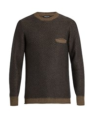 Giorgio Armani Crew Neck Long Sleeved Sweater Grey Multi