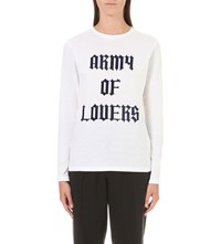Ganni Obrian Army Of Lovers Cotton Top Bright White