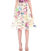 Ted Baker Hoona Tapestry Floral Skirt Pale Yellow
