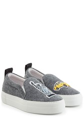 Joshua Sanders Felted Wool Slip On Sneakers Grey