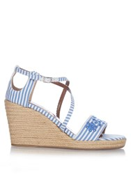 Tabitha Simmons Liu Striped Espadrille Wedges Blue Stripe