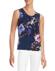 Nipon Boutique Pleated Floral Top Cabana Blue