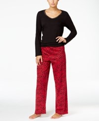 Charter Club Knit Solid Top And Printed Pants Pajama Set Only At Macy's Black Leopard