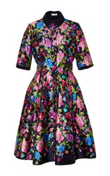 Oscar De La Renta Short Sleeve A Line Dress Black Pink Blue
