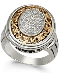 Macy's Diamond Oval Ring 1 5 Ct. T.W. In Sterling Silver And 14K Gold Plated Sterling Silver