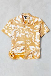 Cpo Textured Tropical Floral Short Sleeve Button Down Shirt Yellow