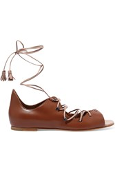Malone Souliers Savannah Lace Up Leather Sandals Tan