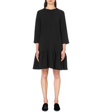 Edit Oversized Peplum Hem Stretch Crepe Dress Black