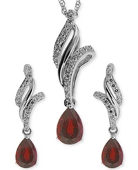 No Vendor Ruby 1 Ct. T.W. And White Topaz 3 8 Ct. T.W. Jewelry Set In Sterling Silver