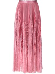 Alexander Mcqueen Pleated Lace Panel Skirt Pink And Purple