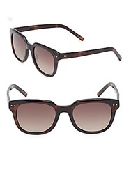 Halston 53Mm Modified Wayfarer Sunglasses Dark Tortoise
