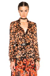Lanvin Devore Leopard Ruffle Blouse In Floral Orange