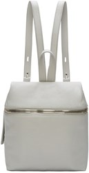 Kara Grey Pebbled Leather Small Backpack