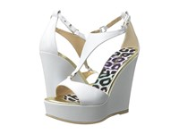 Just Cavalli Calf Leather Off White Women's Wedge Shoes