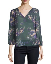Joie 3 4 Sleeve Floral Print Georgette Top Grey
