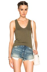T By Alexander Wang Classic Pocket Tank Top In Green
