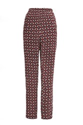 Quiz Wine Retro Print Casual Trousers Red