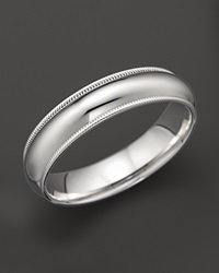 Bloomingdale's Men's 14K White Gold Comfort Feel Milgrain Wedding Band