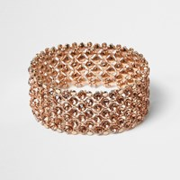 River Island Womens Rose Gold Crystal Embellished Bracelet