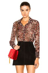 Saint Laurent Leopard Print Blouse In Red Animal Print Red Animal Print
