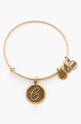 Women's Alex And Ani 'Initial' Adjustable Wire Bangle C Russian Gold