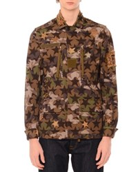 Valentino Camo Star Print And Embroidered Jacket Green Multi