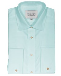 Double Two Men's Non Iron Micro Twill Shirt Duck Egg