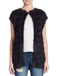 August Silk Button Front Knit Vest Black