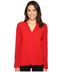Michael Michael Kors Crossover Woven Front Top Red Blaze Women's Clothing