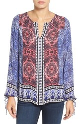 Lucky Brand Women's Border Print Split Neck Blouse