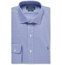 Polo Ralph Lauren Blue Slim Fit Cutaway Collar Checked Cotton Shirt Blue