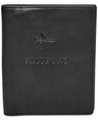 Fossil Men's Leather Embossed Passport Case Black
