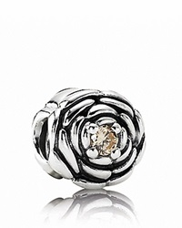 Pandora Design Pandora Charm Sterling Silver And Champagne Cubic Zirconia Blooming Rose Moments Collection Silver Champagne