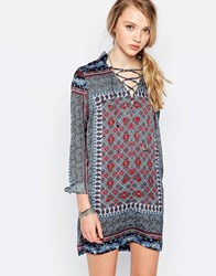 Daisy Street Shift Dress With Lace Up Detail In Scarf Print Multi