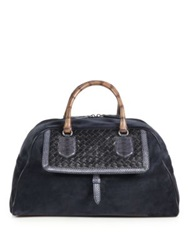 Bottega Veneta Mixed Media Satchel Tourmaline