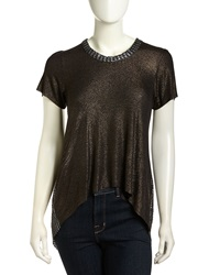 T Bags T Bags High Low Mesh Back Shimmer Top Black Foil