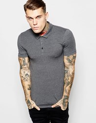 Asos Extreme Muscle Jersey Polo In Charcoal Marl Charcoal Marl