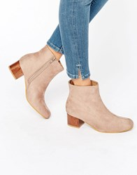 Truffle Collection Luan Tortoiseshell Mid Heeled Ankle Boots Taupe Micro Beige