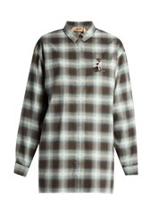 N 21 Cat Embellished Checked Cotton Shirt Grey Multi