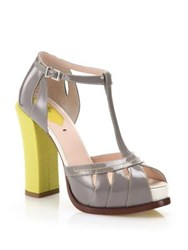 Fendi Chameleon Patent And Embossed Leather T Strap Sandals Grey Yellow