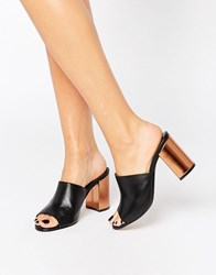 Park Lane Contrast Heel Leather Mule Black Leather