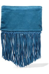 Maje Sahel Fringed Suede Clutch Blue